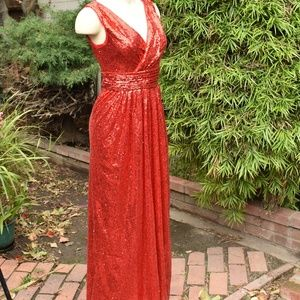 KATE KASIN RED SEQUIN MAXI DRESS SZ 4 RED SEQUIN